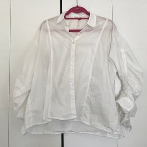 Free people oversized ruched sleeve button down